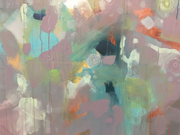An abstract painting by Dennis Wunsch at the Bothell City Hall Gallery in Washington.