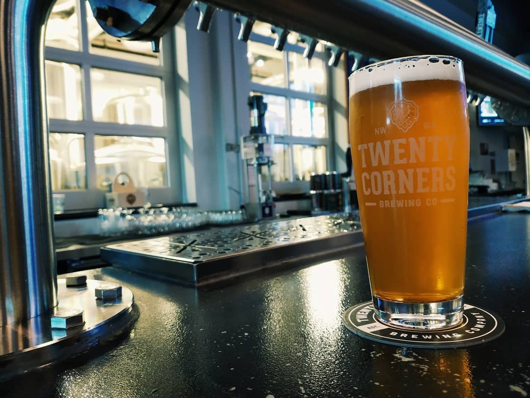 Freshly poured beer on the bar at 20 Corners Brewing near Bothell, Washington.