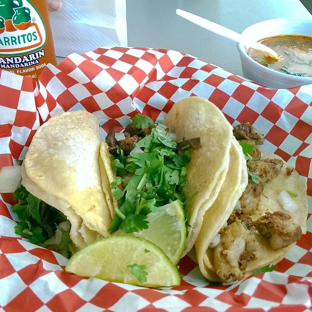 Basket of tacos from urban Mexican restaurant, Aca Las Tortas, in Bothell, Washington.