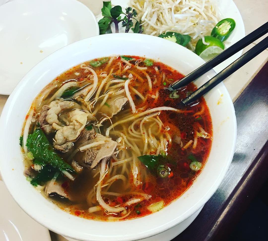 Bowl of pho at the Bamboo House Vietnamese restaurant in Bothell, Washington.