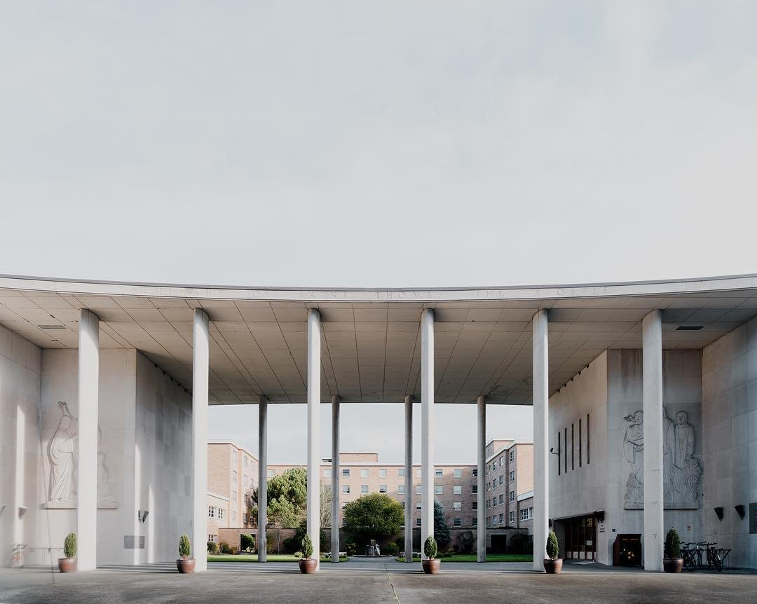 Pillar entrace to the Bastyr University courtyard in Bothell, Washington.