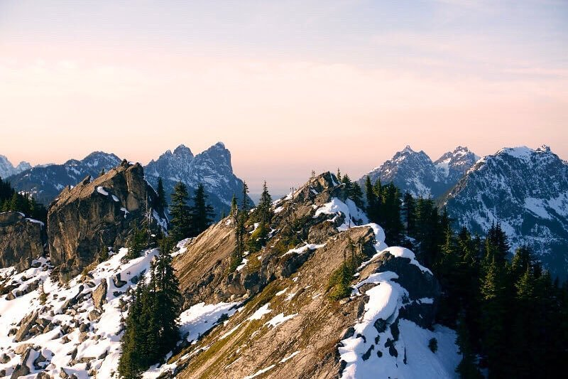 Peaks of snowy mountains along the Beckler Peak trail in Bothell, Washington.