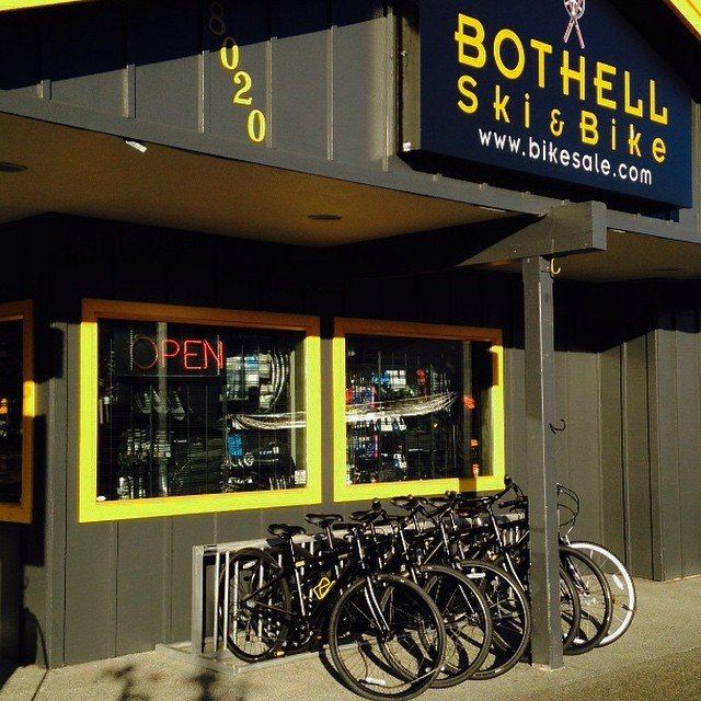 Bikes lined up outside of the Bothell Ski and Bike store in Bothell, Washington.