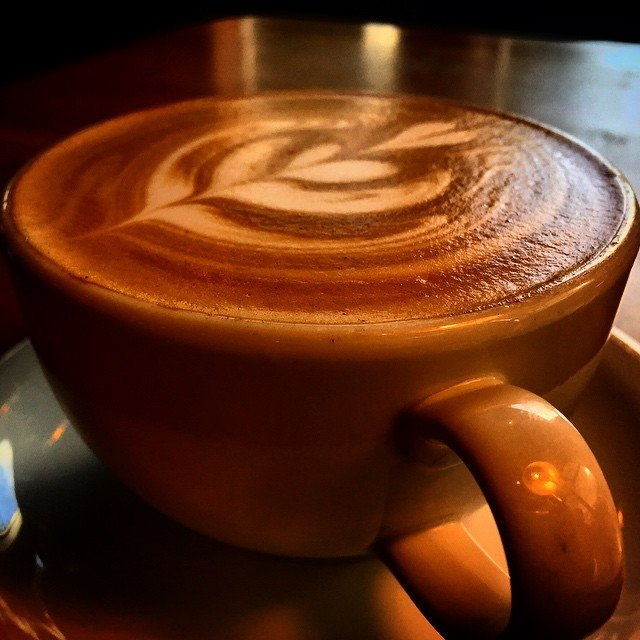 Close up photo of a latte from Caffe Ladro coffe shop in Bothell, Washington.