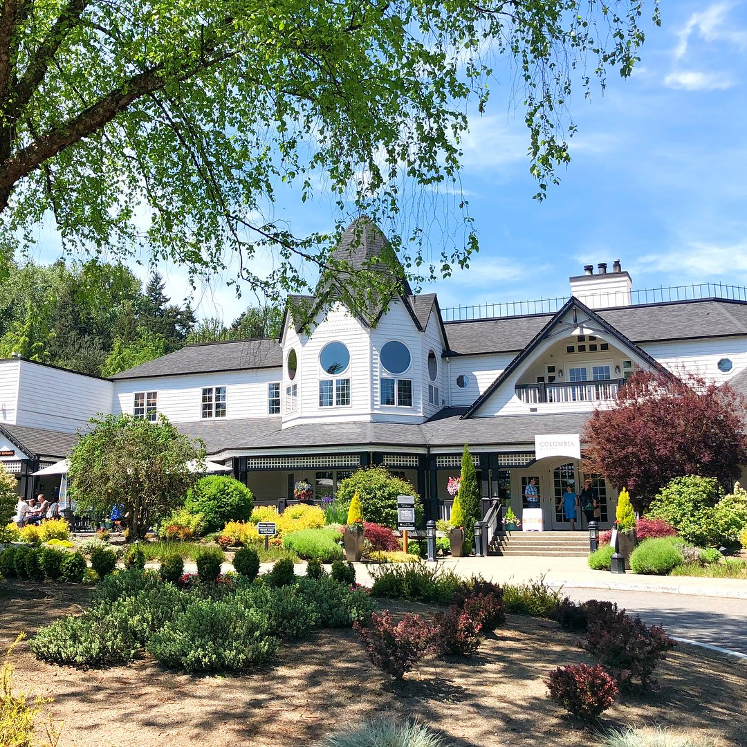 View of the front of the Columbia Winery building near Bothell, Washington.