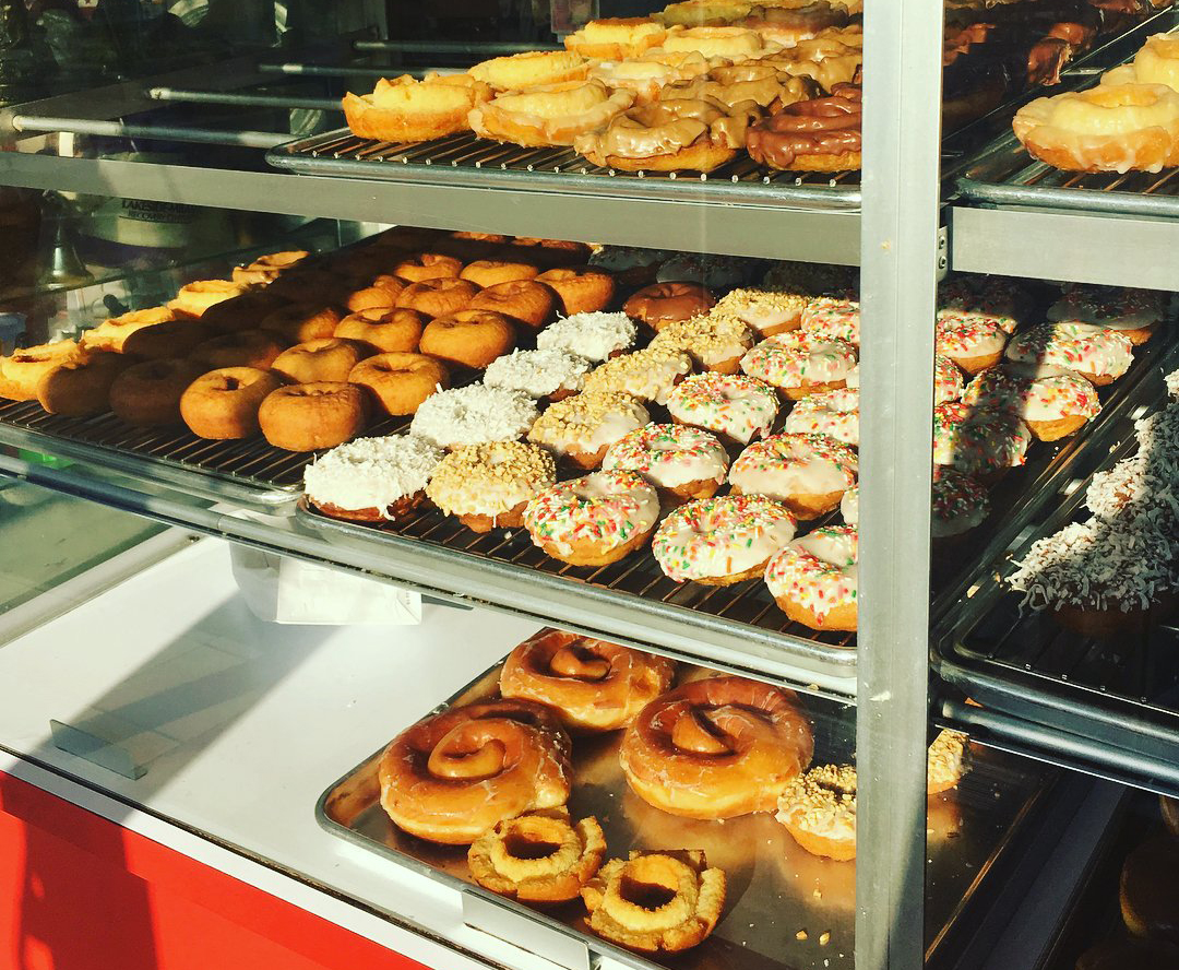 A variety of donuts in the display case at Countryside Donut House in Bothell.