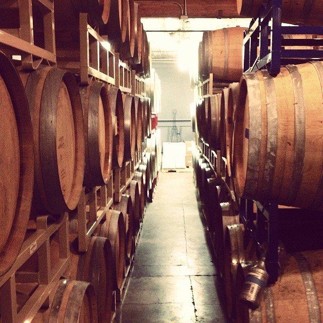 Rows of wine barrels lined up at Cavington Cellars near Bothell, Washington.