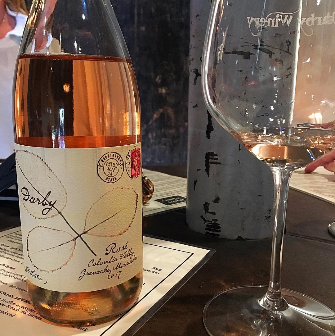 Bottle and glass of rosé wine from Darby Winery near Bothell, Washington.