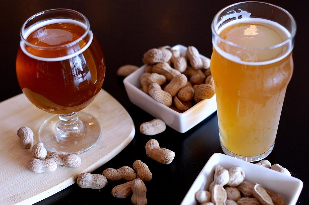 Two glasses of beer and bowl of peanuts at Decibel Brewing in Bothell, Washington.