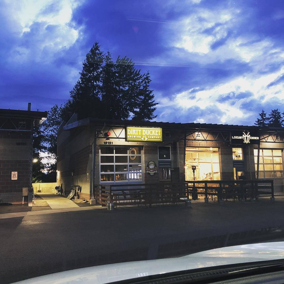 Outside view of Dirty Bucket Brewing, at night time, near Bothell, Washington.