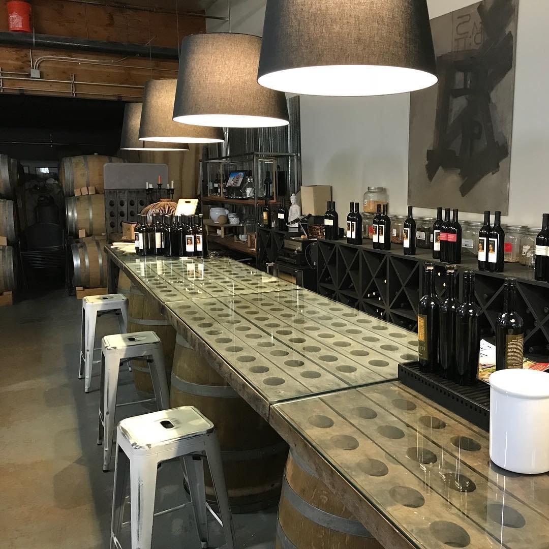 Varieties of wine bottles on the bar at Distefano Winery near Bothell, Washington.