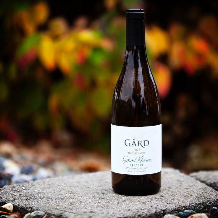 Bottle of wine on display outside of Gard Vitners near Bothell, Washington.
