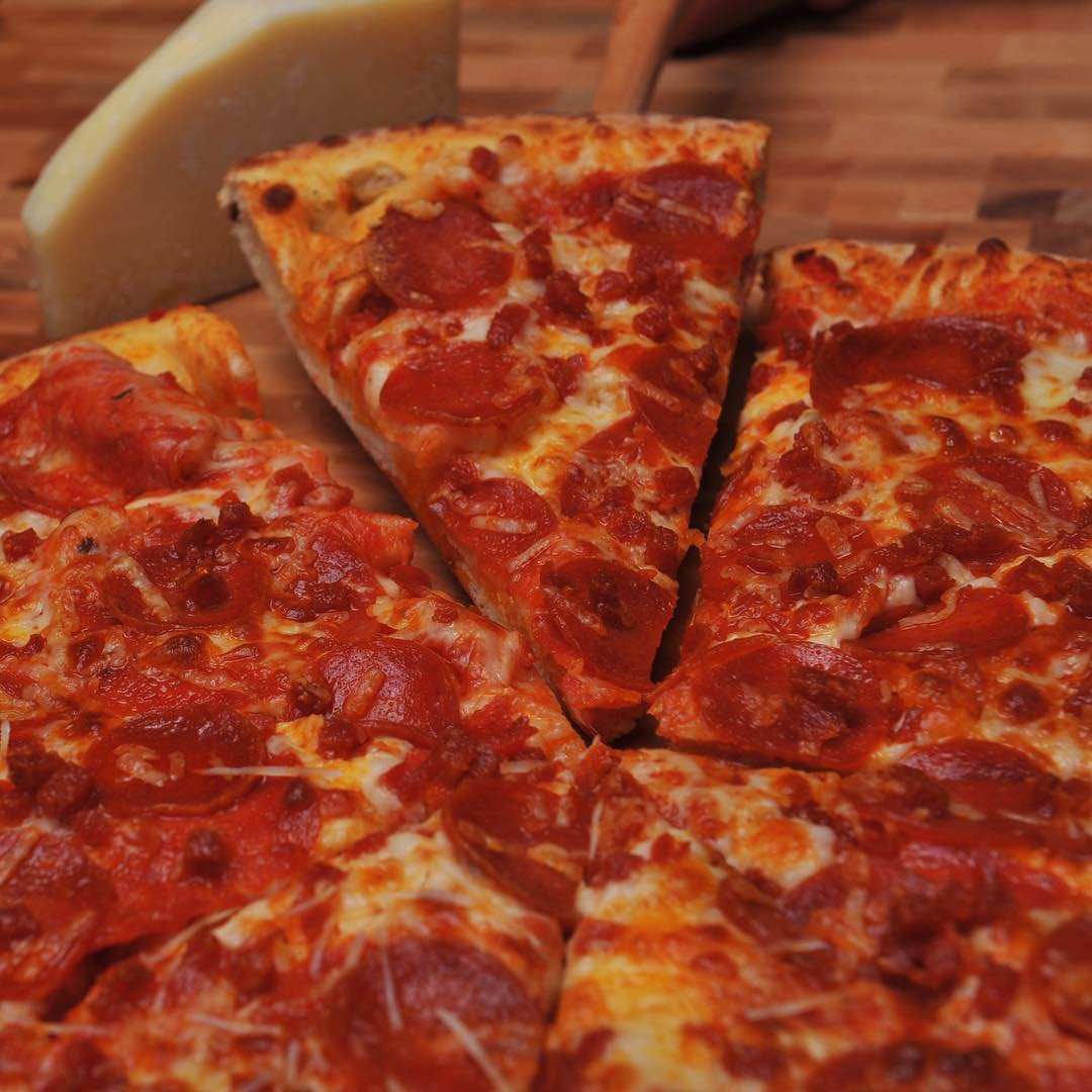 Large pepperoni pizza from Garlic Jim's Gourmet Pizza in Bothell, Washington.