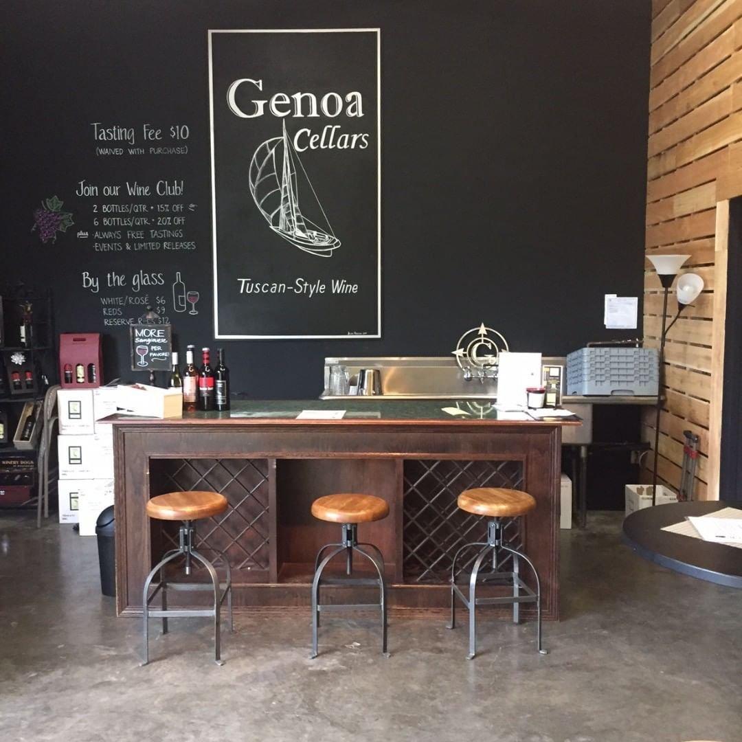 Wine tasting bar inside of Genoa Cellars wine store near Bothell, Washington.