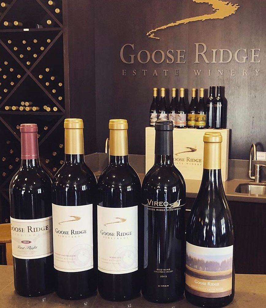 Bottles of wine from Goose Ridge Estate Winery & Vineyard near Bothell, Washington.