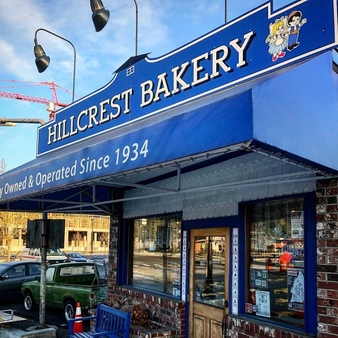 Outside view of the Hillcrest Bakery building in Bothell, Washington.
