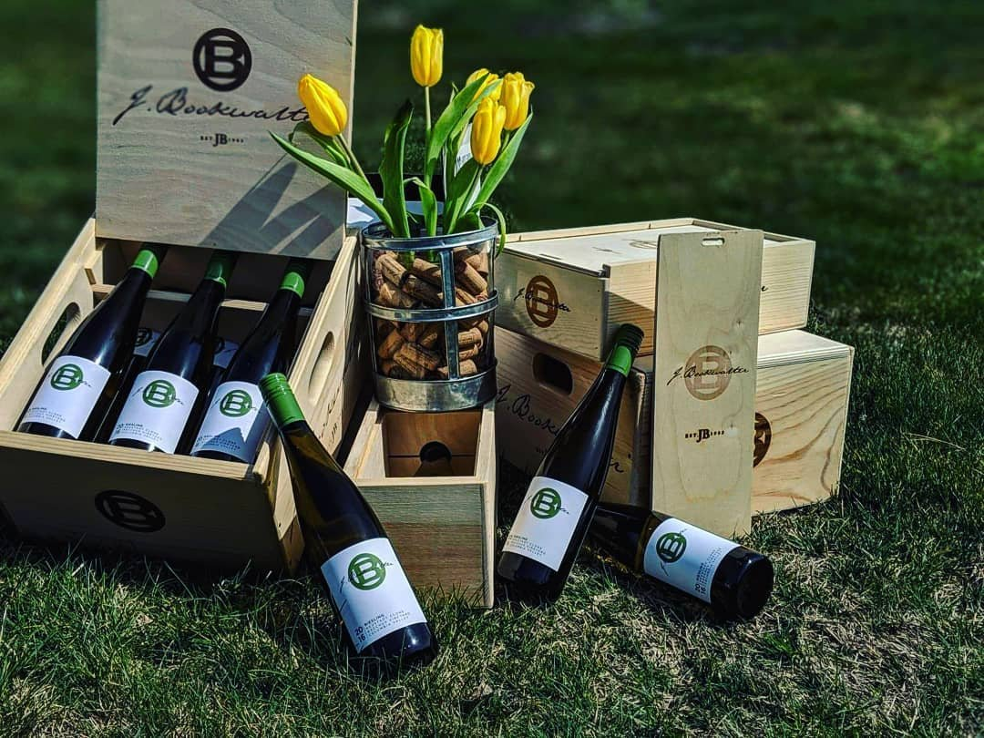 Boxes filled with wine bottles from J. Bookwalter Wines near Bothell, Washington.