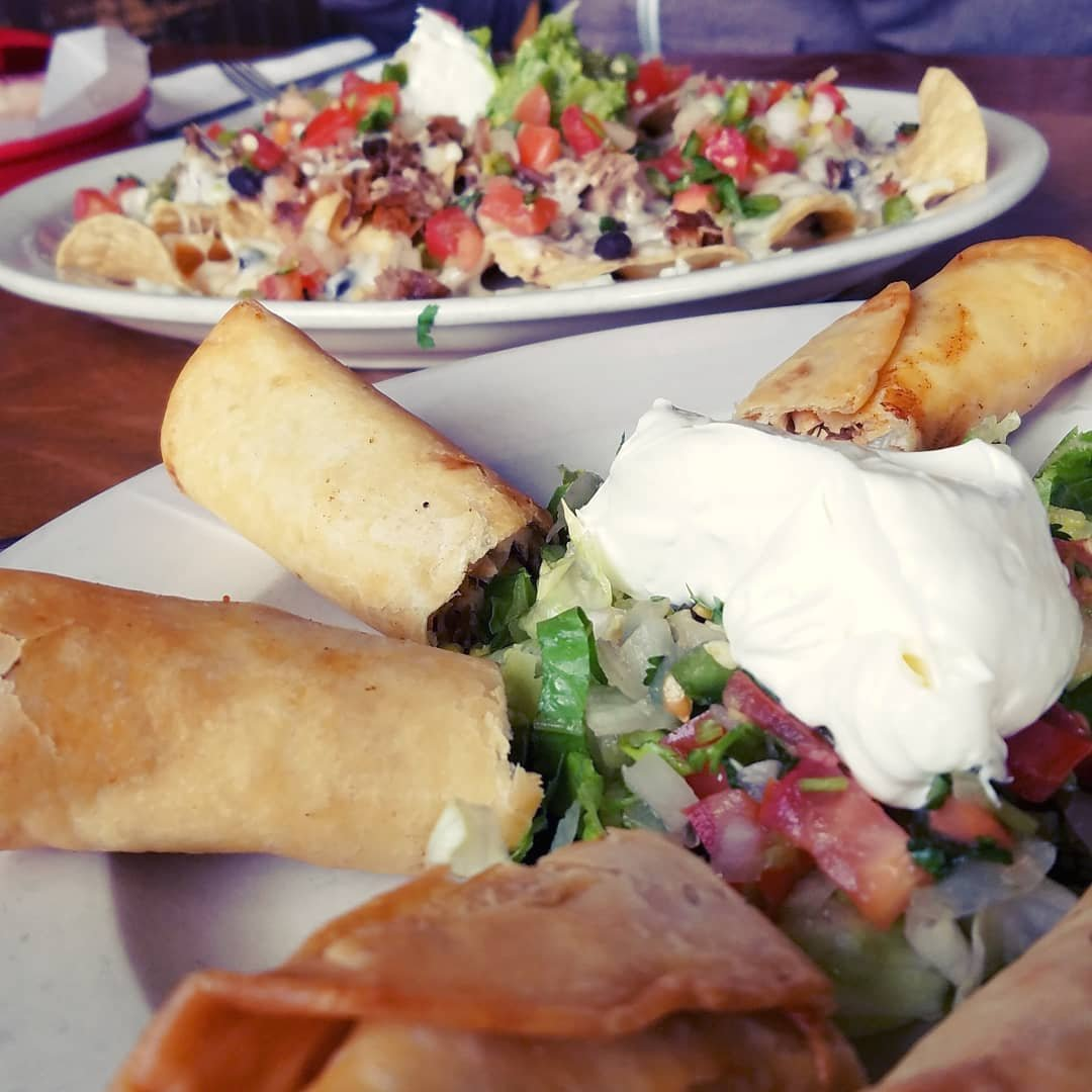 Taquitos and nachos from Julio's Mexican Restaurant in Bothell, Washington.