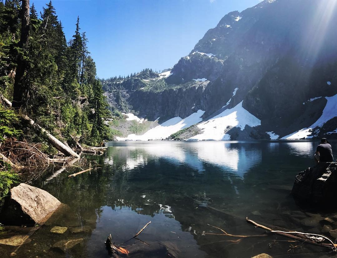 View of Lake Serene and the surrounding mountains near Bothell, Washington.