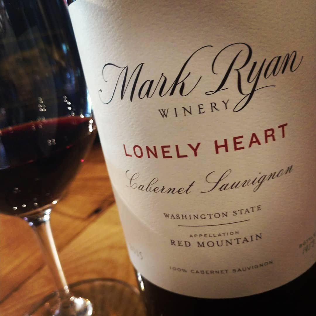 Close up view of wine bottle label from Mark Ryan Winery near Bothell, Washington.