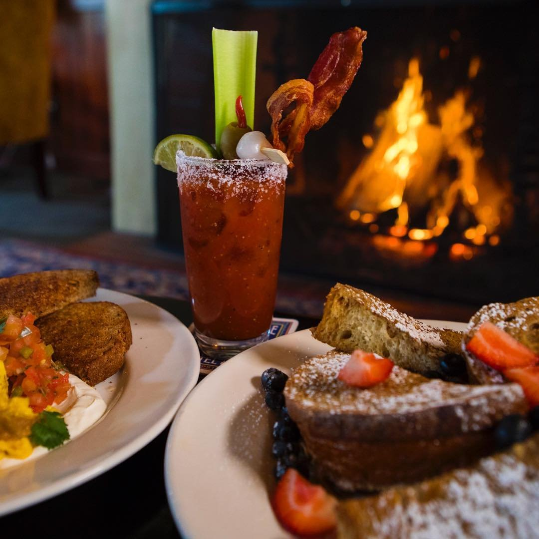 Breakfast entrees and a bloody mary at McMenamins Anderson School in Bothell.