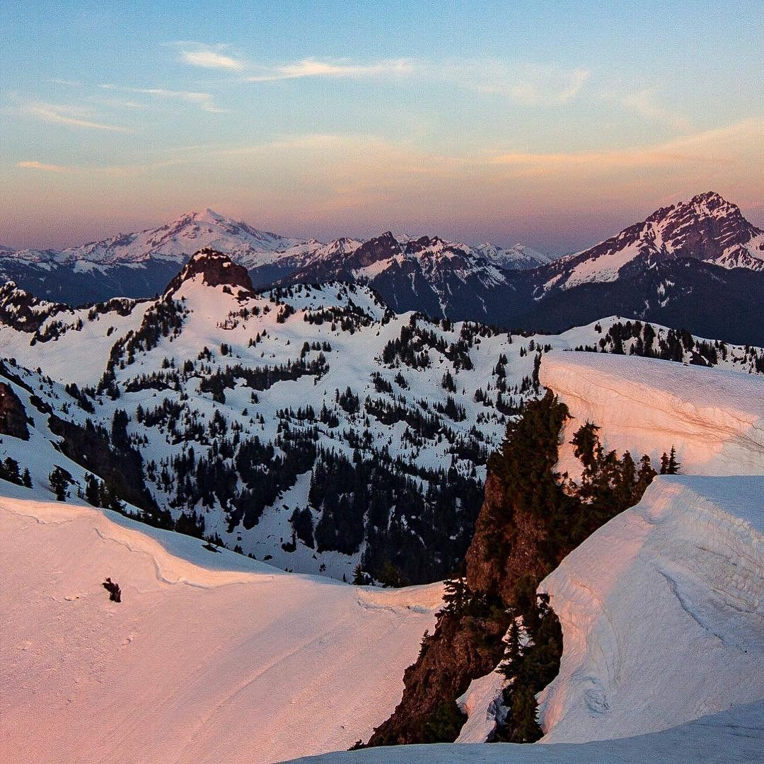 View of mountains from the top of a snowy Mt. Dickerman near Bothell, Washington.