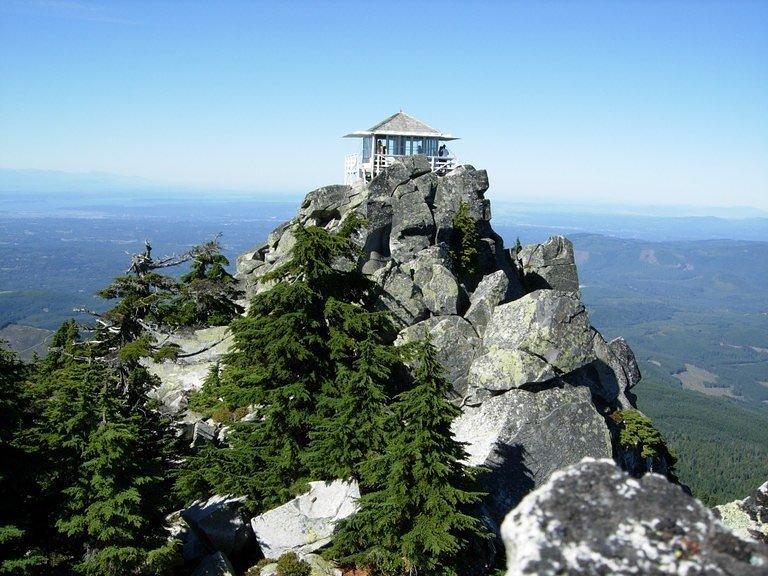 The lookout building at the top of Mount Pilchuck nearby Bothell, Washington.