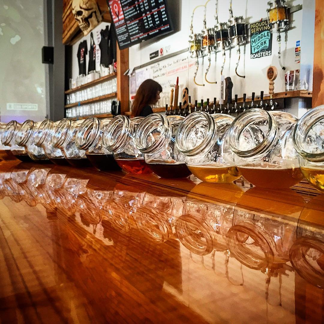 Bowls filled with beer on the bar at Nine Yards Brewing near Bothell, Washington.