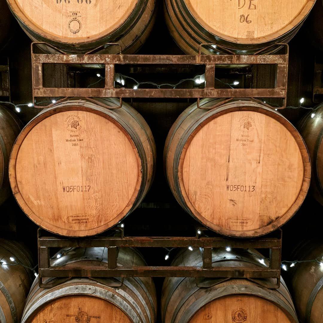 Large barrels of wine at Obelisco Estate Winery near Bothell, Washington.