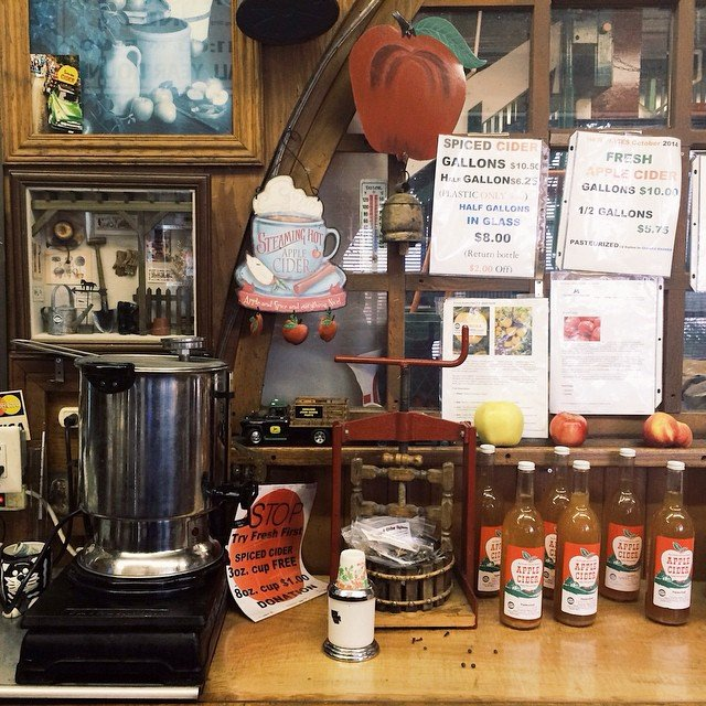 Counter with Apple Cider for sale at Off The Branch Farm near Bothell, Washington.