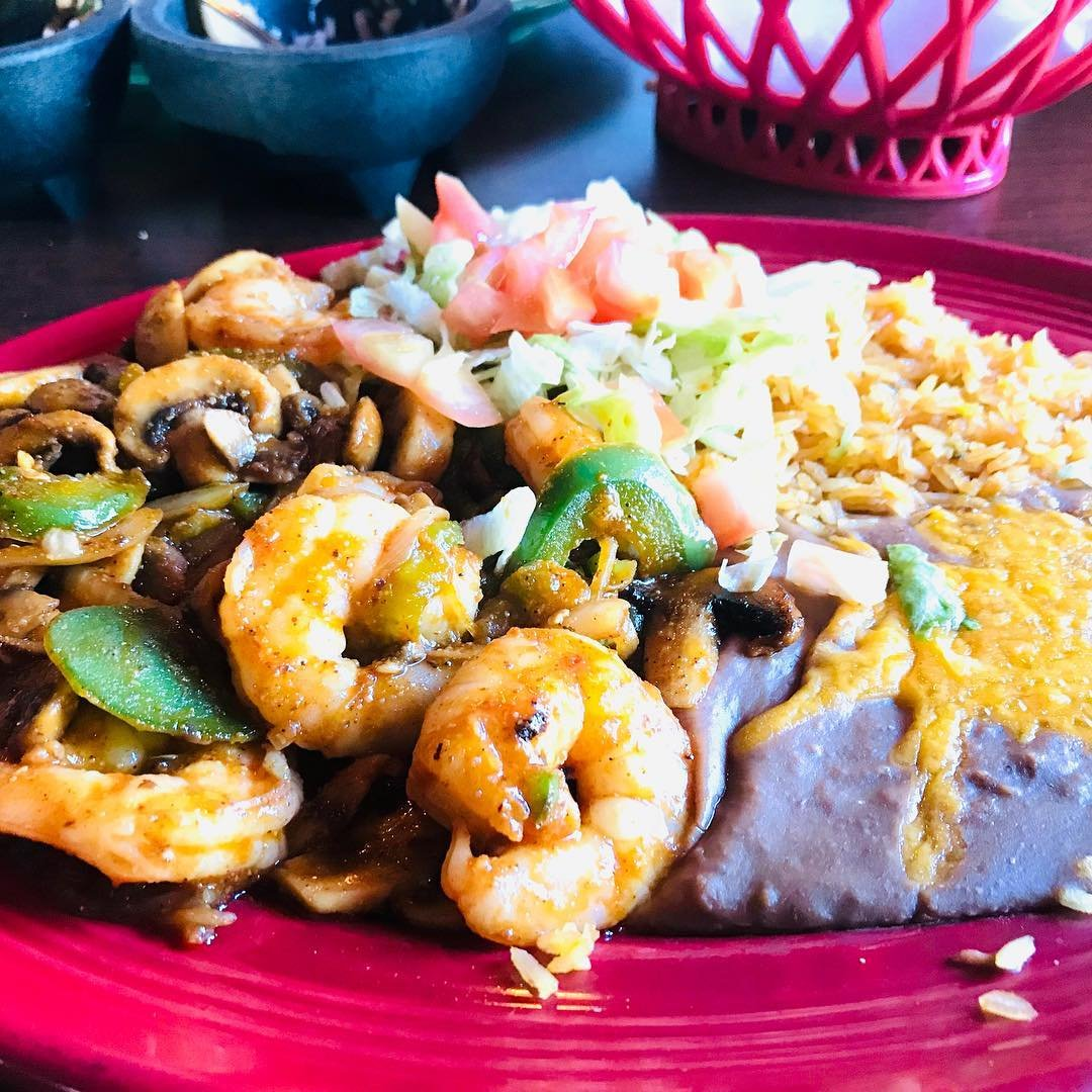 Entree of shrimp, rice, and beans from Pasion Tequila in Bothell, Washington,