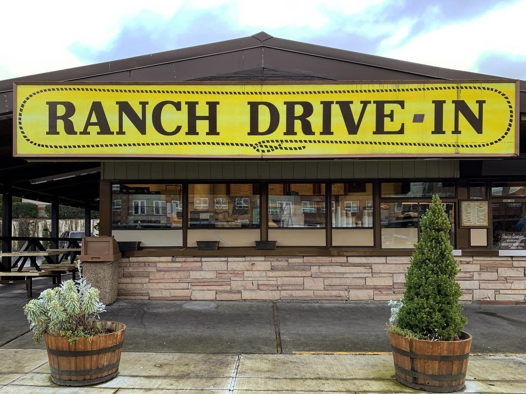 Outside view of the Ranch Drive-In fast food restaurant in Bothell, Washington.