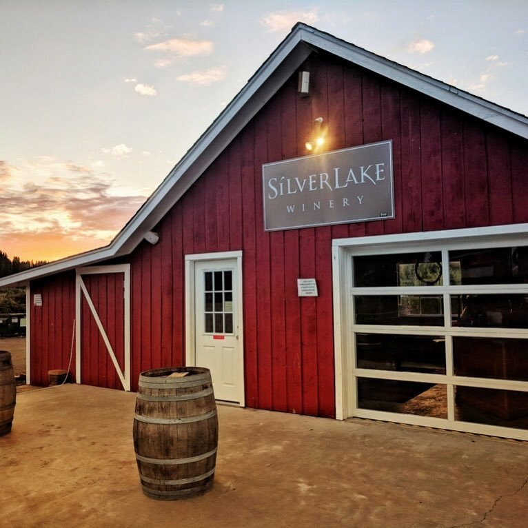 Outside view of the Silver Lake Winery building, at sunset, near Bothell, Washintgon.