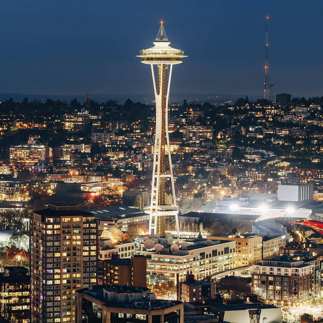 View of the Seattle Space Needle with the city in the background near Bothell.