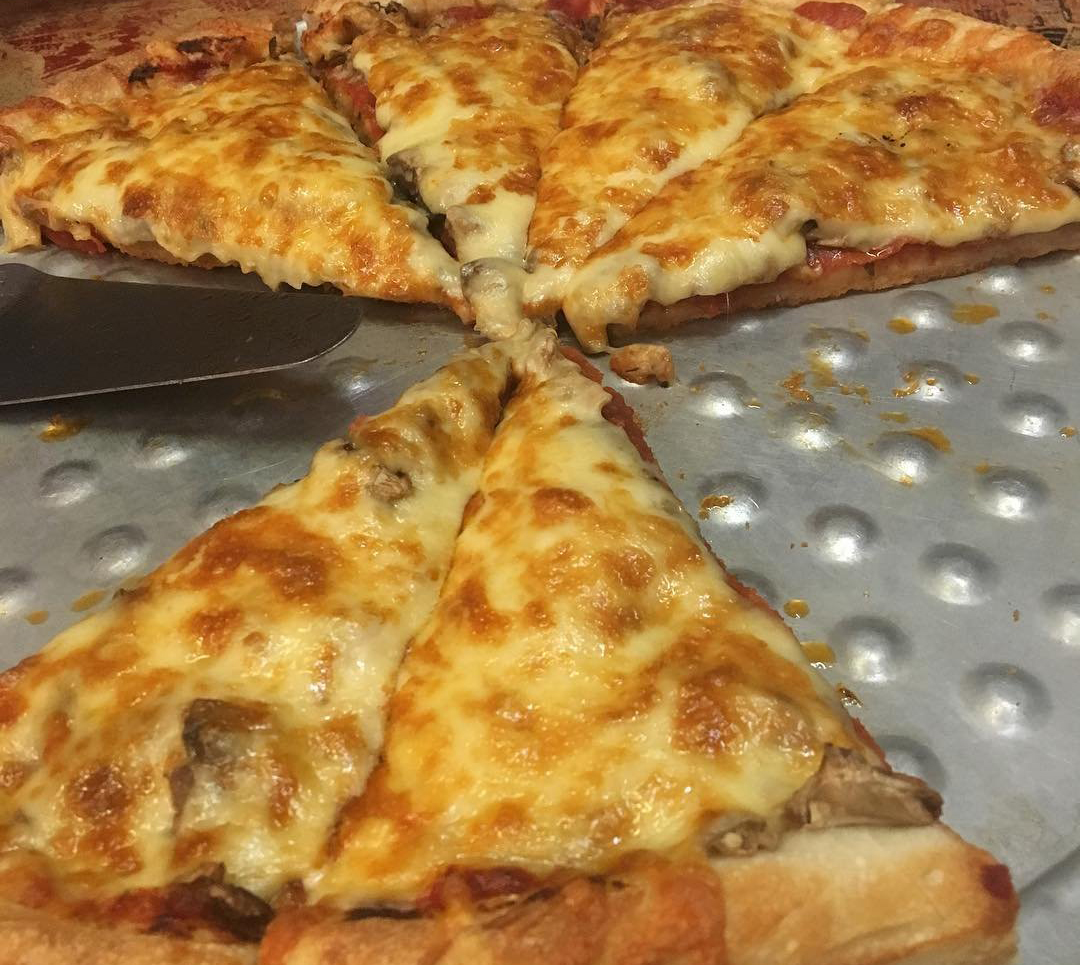 Cheesy pizza from Sparta's Pizza and Pasta House in Bothell, Washington.