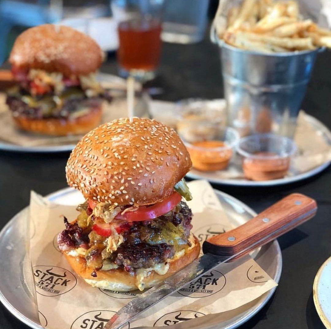 Gourmet burgers and fries from Stack 571 Burger and Whiskey Bar in Bothell.