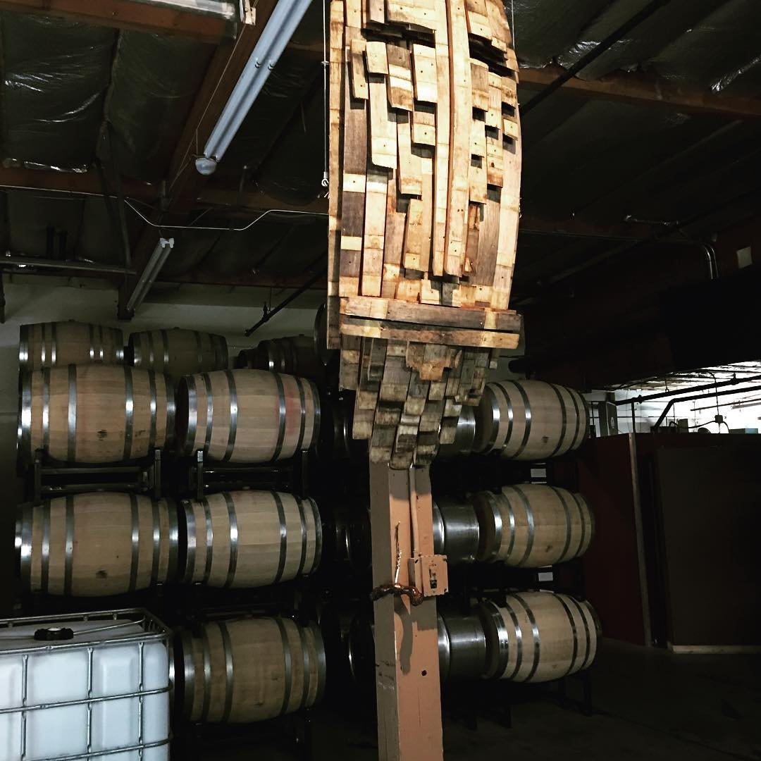 Large barrels of wine inside of Stevens Winery near Bothell, Washington.