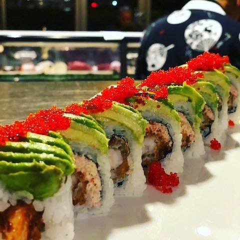 Plated sushi with avocado from Sushi Chinoise Japanese restaurant in Bothell, WA.