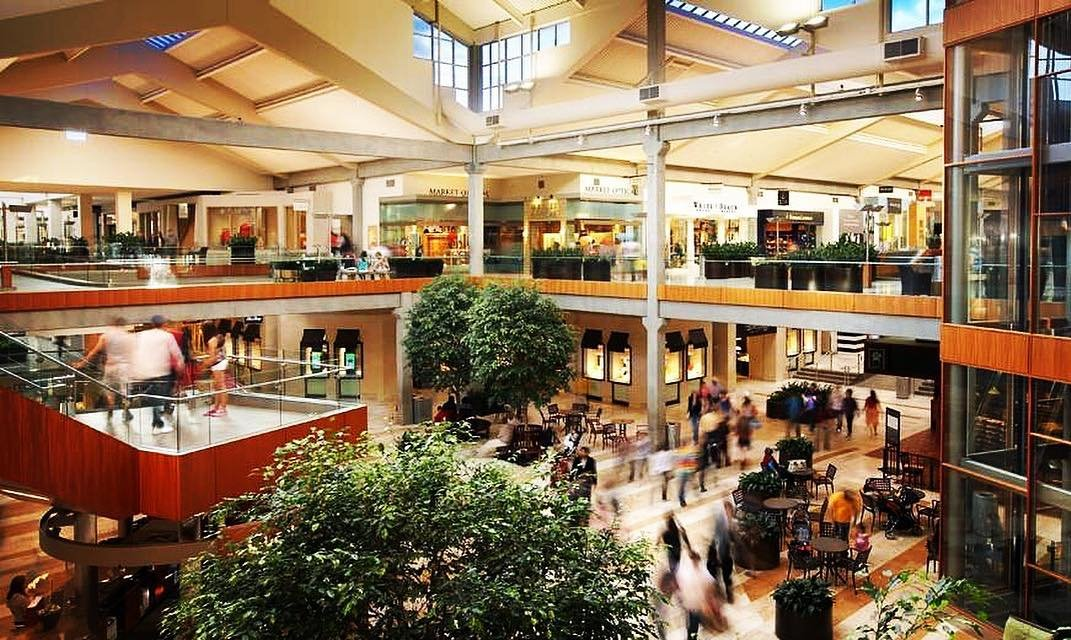 View of the atrium inside of The Bellevue Collection mall near Bothell, Washington.
