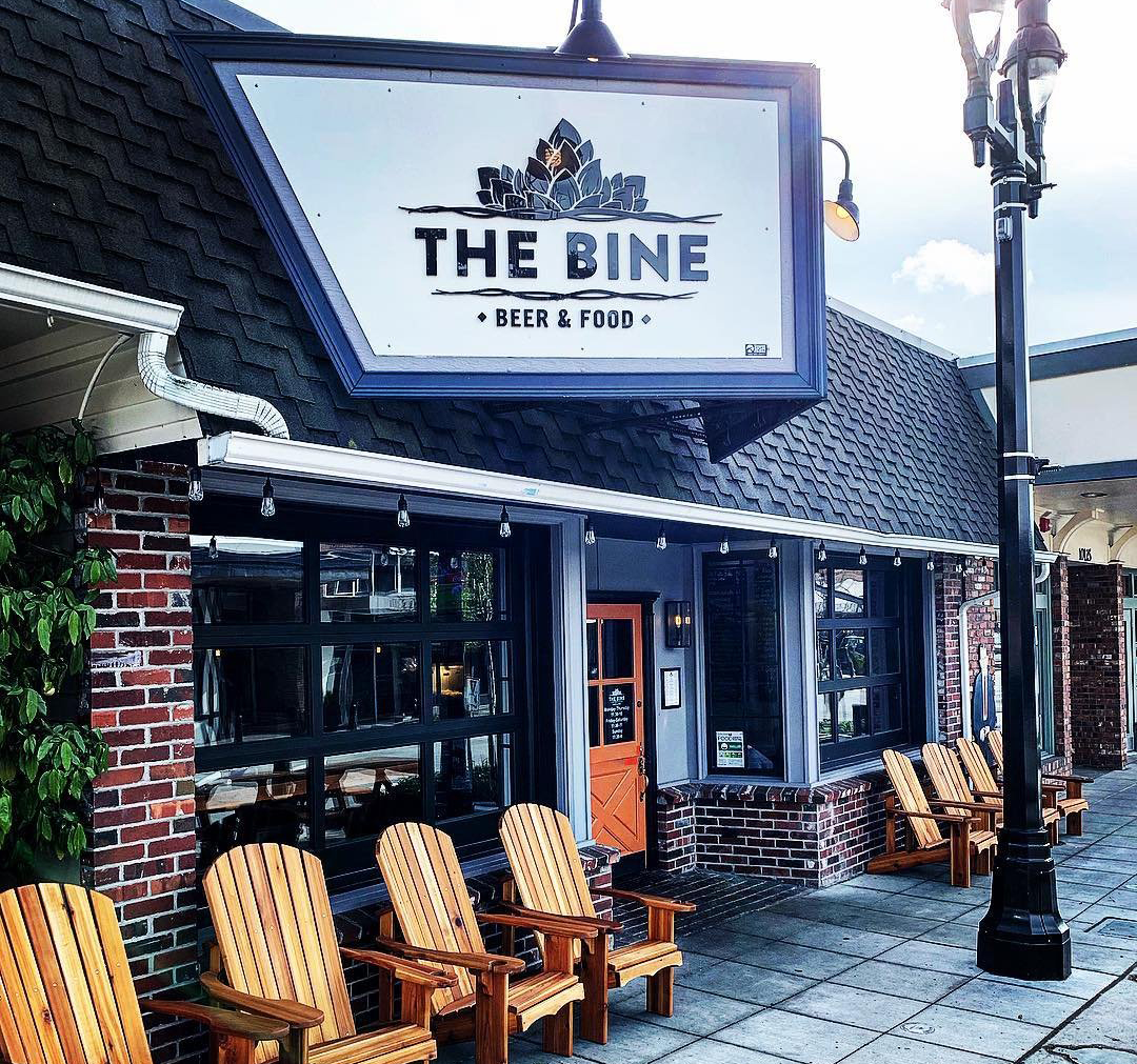 Outside view of The Bine Beer and Food restaurant in Bothell, Washington.