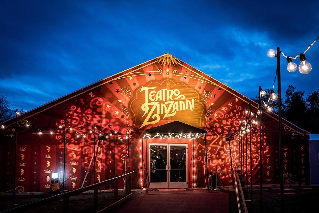 Outside of the Teatro ZinZanni building at night time, near Bothell, Washington.