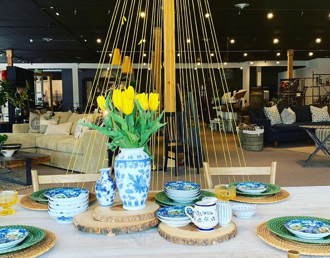 Fine china and furniture for sale at First and Main Design Center in Bothell, Washington.