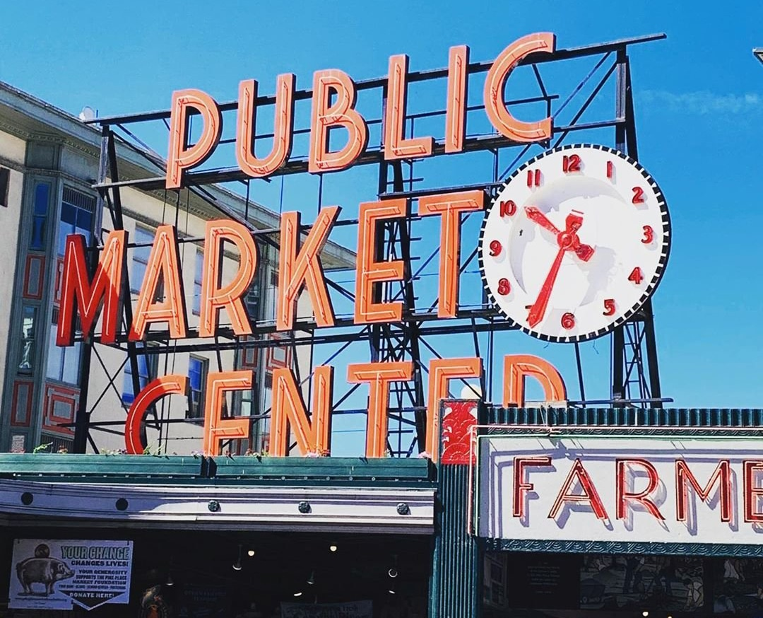 The Public Market Center sign outside of Pike Place Market in Seattle, Washington.