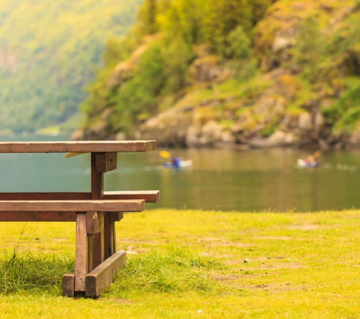 Lake with park bench