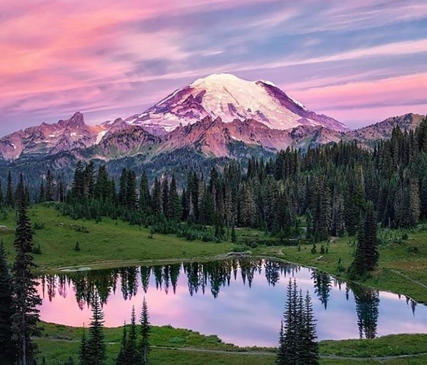 View of Mount Rainier National Park, and a sunset sky, near Bothell, Washington.