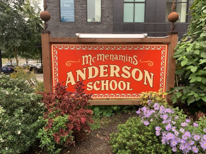 Sign outside McMenamins Anderson School