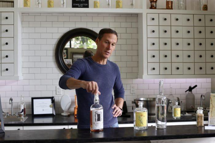 Wildwood Spirits Co distiller, Erik Liedholm, in tasting room in Bothell.