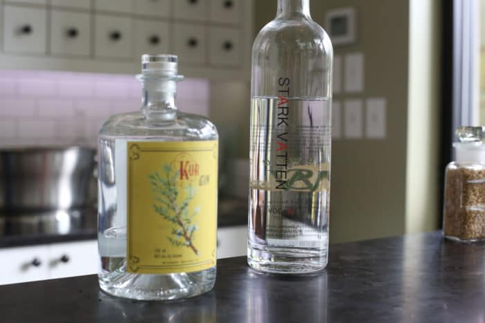 Wildwood Spirits Co. Kur Gin and Stark Vatten Vodka on tasting room counter in Bothell.