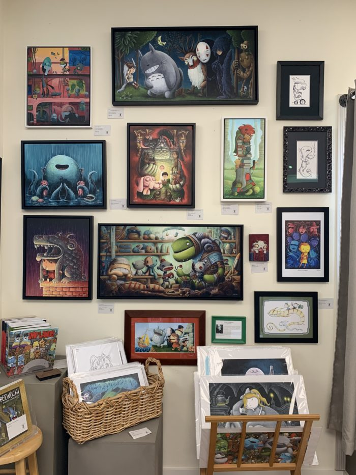 Art on wall at Tsuga Fine Arts and Framing Bothell