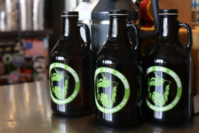 Hop & Hound Growlers on shelf